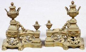 French Bronze Chenets 19th C. Pair