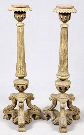 Italian Neoclassical Wood Pedestals W/ Marble Tops