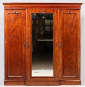 Edwardian Mahogany Triple Wardrobe C. 1900