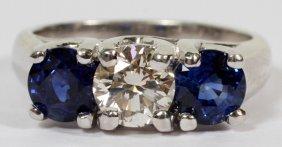 Natural Diamond & 1.68ct Natural Sapphire Ring