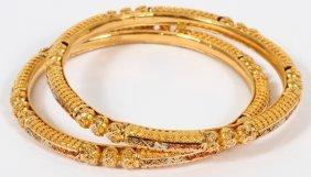22kt Yellow Gold Bangle Bracelets Pair