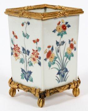 Continental Style Porcelain Vase W/ Ormolu Mounts