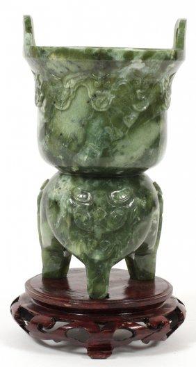 Chinese Carved Serpentine Koro