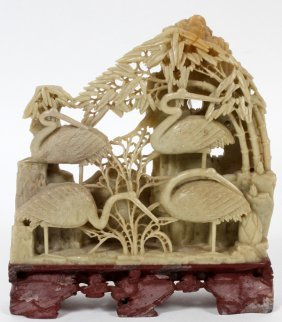 Chinese Carved Soapstone Cranes & Tree