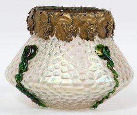 Loetz Style Iridescent Glass Vase