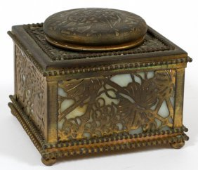 Tiffany Studios Etched Metal & Glass Inkwell