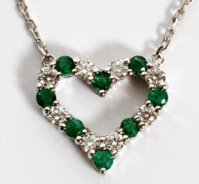 Natural Emeralds & Diamonds Heart Necklace
