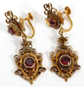 Antique 14kt Yellow Gold & Garnet Dangle Earrings