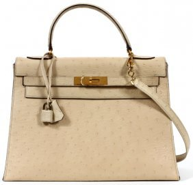 Hermes 32cm Ostrich Rigide Kelly Bag