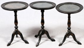 Chinoiserie Style Pedestal Tables, Three