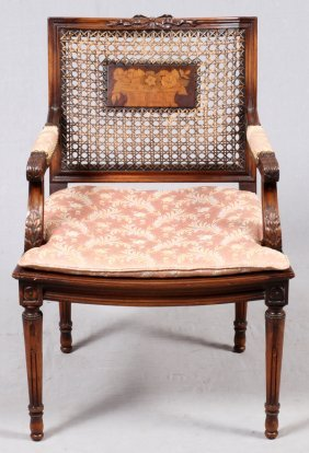 Louis Xvi Style Carved Walnut & Cane Armchair