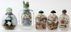Chinese Painted Glass Snuff Bottles, Five