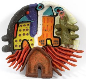 Mary Jo Boie Hanging Pottery Wall Sculpture 1983