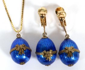 14kt Yellow Gold And Enamel Pendant And Earrings