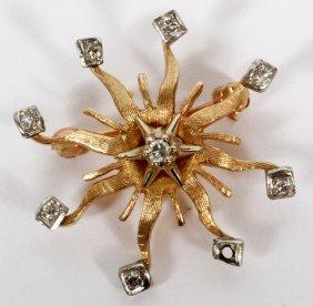 14kt Yellow Gold Sunburst Design Brooch