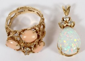 14kt Yellow Gold Nugget Ring & 14kt Opal Pendant