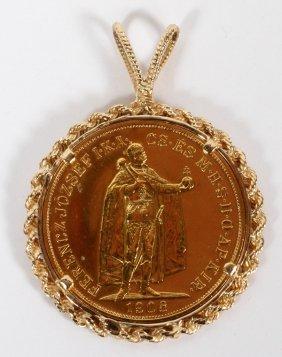 100 Corona Gold Austrian/hungarian Coin & Frame