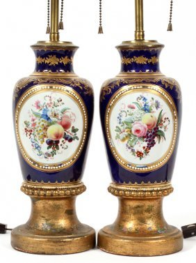 French Porcelain Urns Converted To Lamps C. 1920
