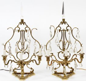 French Brass And Crystal Girandoles, Pair