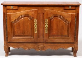 Country French Style Hand Carved Walnut Cabinet