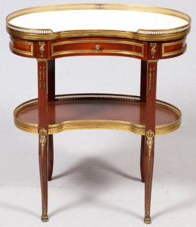 Louis Xv Style Mahogany Marble Top Table