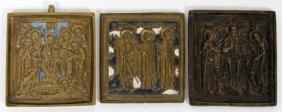Russian Orthodox Enameled Brass Icons, Three