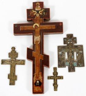Russian Orthodox Brass Enamel & Wood Crucifixes, 4
