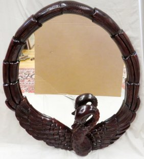 Carved Mahogany Swan Form Mirror