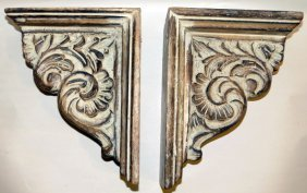 Hand Carved Wood Brackets Four