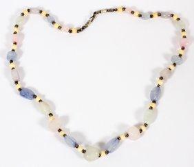 Lady's Bead Necklace Quartz And Bone