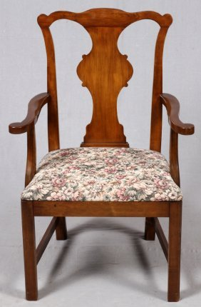 Chippendale Style Mahogany Open Arm Chair