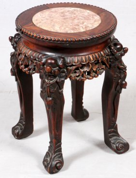 Chinese Hand Carved Teakwood & Marble Stand