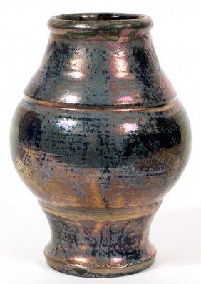 Pewabic Pottery Navy To Light Blue Vase