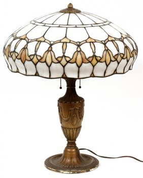 Domed Leaded Glass Shade Honey Comb Floral Lamp