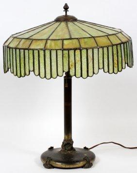 Leaded Slag, Textured Glass & Brass Lamp C. 1920