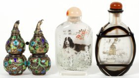 Chinese Crystal And Enameled Brass Snuff Bottles