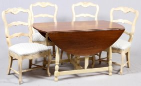 Henredon, Drop Leaf Mahogany & Painted Dining Set