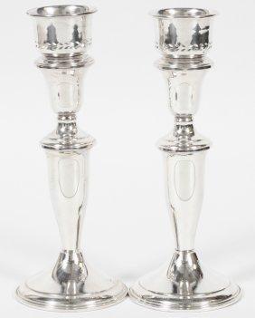 Sterling Candlesticks, Pair