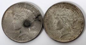 American Morgan Head Silver Dollars 1922 & 1923