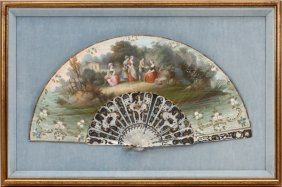 French Hand-painted Pleated Fan