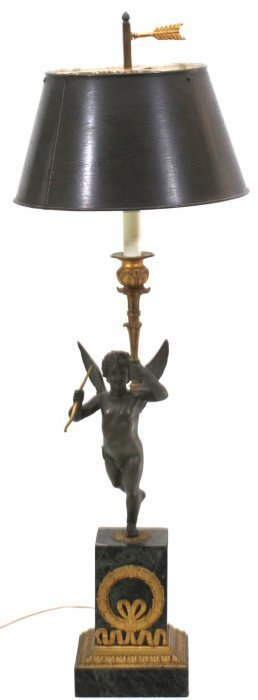 French Bronze & Marble Figural Table Lamp