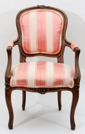 French Carved Walnut & Upholstered Child's Chair