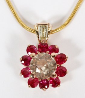 1.92ct Natural Light Pink Sapphire & Ruby Necklace