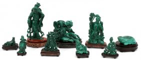 Chinese Carved Malachite Figures, Nine