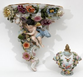 Porcelain Figural Shelf Bracket & Urn C. 1900
