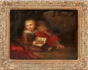 English Antique Oil On Canvas