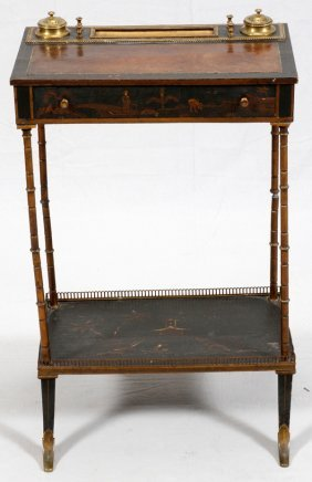 Chinoiserie Design Leather-top Writing Desk