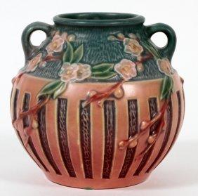 Roseville Cherry Blossom Pink Pottery Vase C. 1933