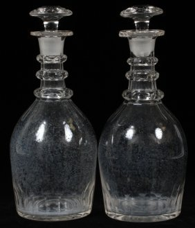 Hand-blown Crystal Decanters Pair