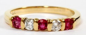 18kt Yellow Gold Ruby & Diamond Band Ring